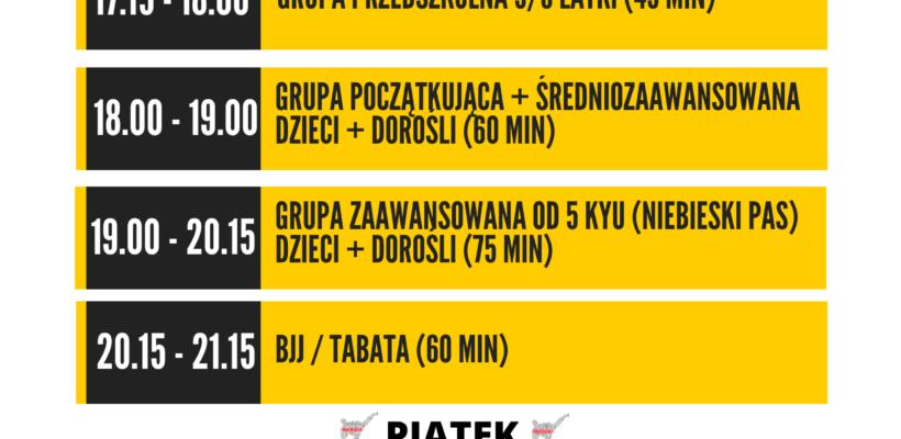 Harmonogram zajęć karate w Warszawie (SP 375 ul. Abrahama 10)
